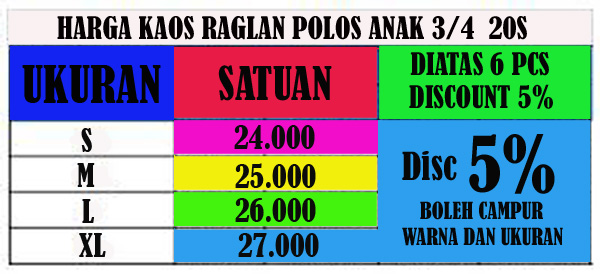 PRICE LIST ANAK